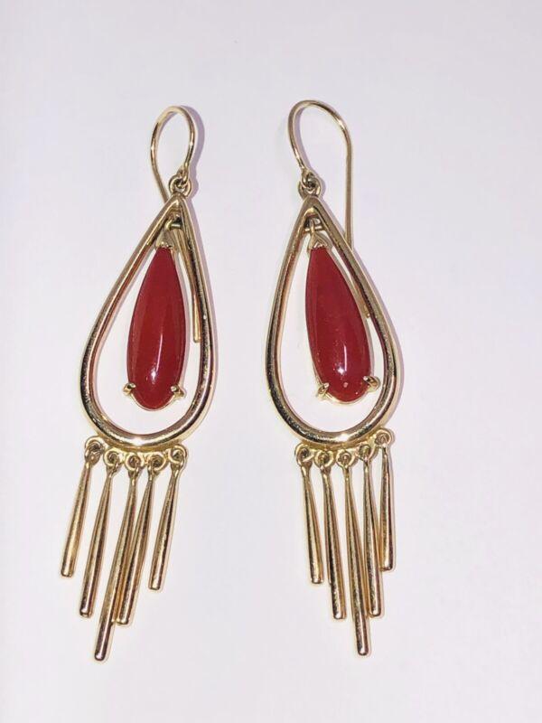 14K Yellow Gold Vintage Italian Red Coral Dangle Hook Earrings 11.42g nm
