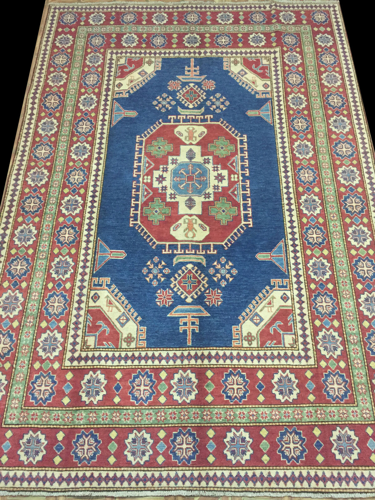 New Wool Handmade Rug 7 x 10 Blue Kazak Rug