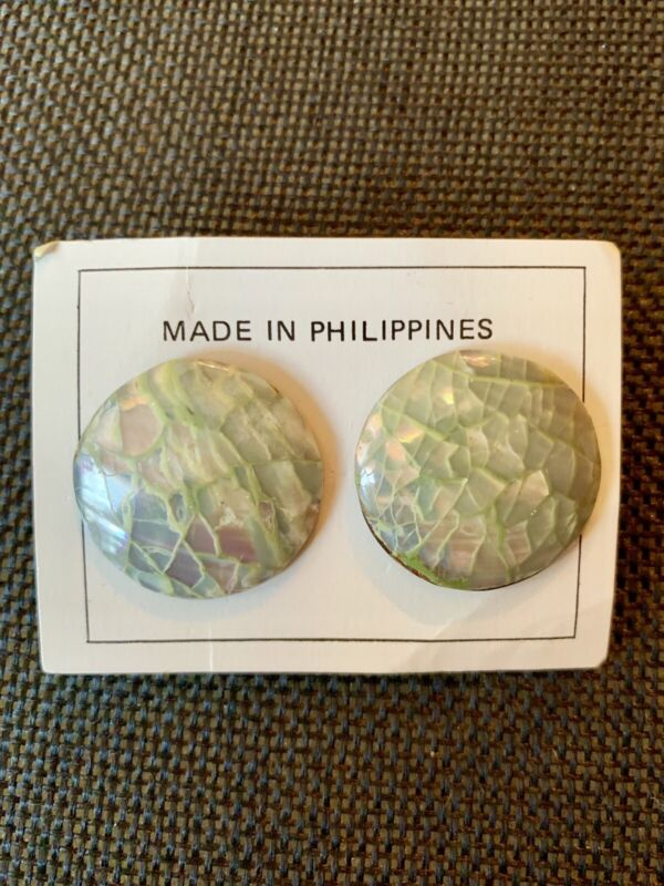 Vintage Abalone Shell Round Domed Earrings  w Post For Pierced Ears Philippines