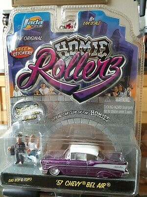 Jada 1:64 Homie Rollerz '57 Chevy Bel Air w/ Figures Purple Sad Boy Topo 2004