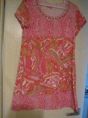 Joyous & Free Dress Womens-LG- Skin & paisley print w/ beads & sequins-preowned Beaded Paisley Print Dress