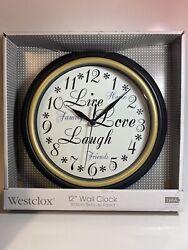 NEW WESTCLOX 32032 LIVE LOVE LAUGH 12 ROUND QUARTZ WALL CLOCK BEZEL COLOR SALE