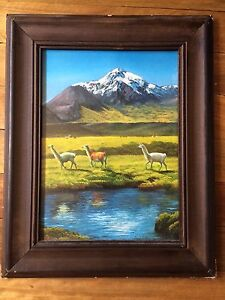 Llama painting print on cardboard + frame The Gap Brisbane North West Preview