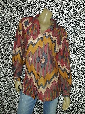 Blair Brown Geometric Long Slv Button Up Collared Blouse Top Shirt LARGE USED