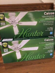 "Hunter 52"" cottage white outdoor ceiling fans"