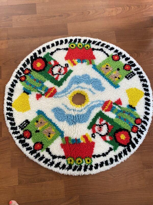 """Vintage 37"""" Vibrant Latch Hook Christmas Tree Skirt Santa Train Estate Find"""
