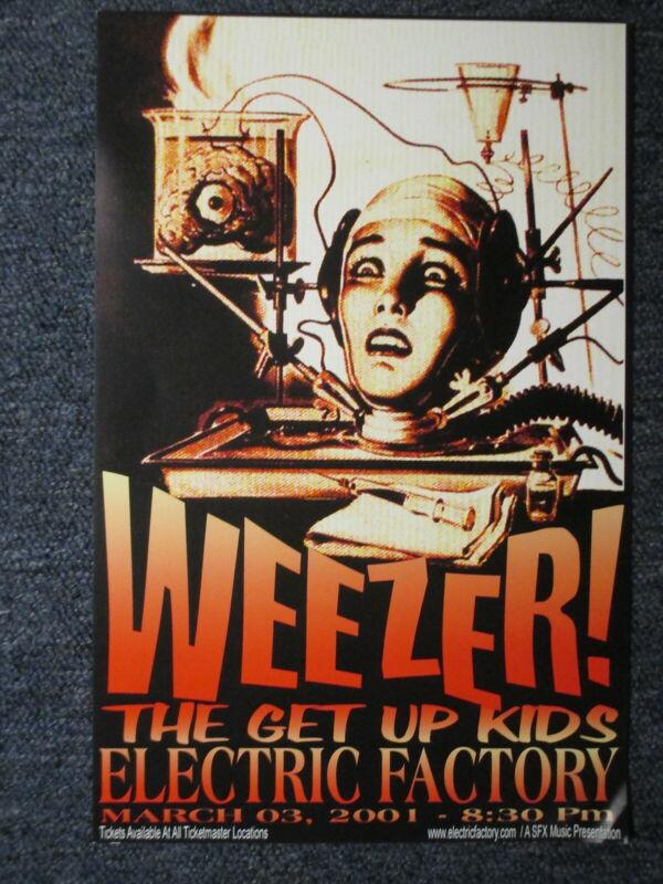"""Weezer Concert Poster Philadelphia 3/3/01 - 11"""" X 17"""" ORIGINAL !"""