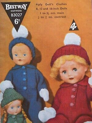 "Vintage 'Bestway' 8, 12,16"" Tall Doll's Clothes 4ply Knitting Pattern 4 Items"