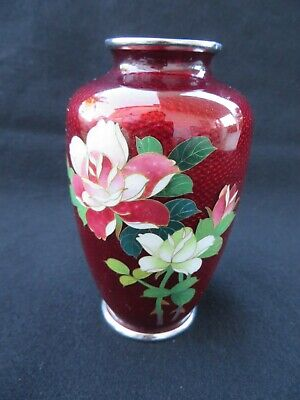 Vintage Japanese Cloisonne Pigeon Red Vase Flowers Inaba sticker