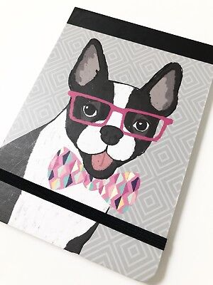 New Small Clementine Boston Terrier Note Pad Dog Glasses Bow Tie Canine Doggie