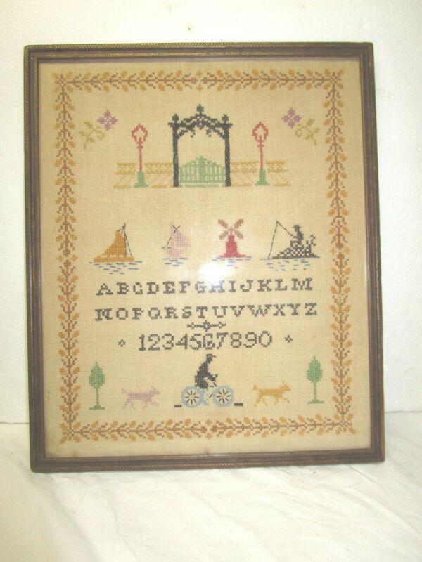 Antique Primitive Vintage Framed Needlepoint Cross Stitch schoolgirl sampler
