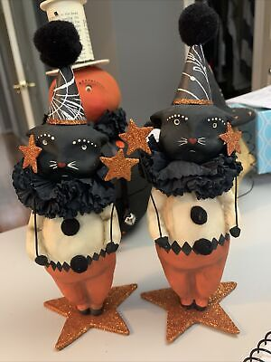 Set Of Two Bethany Lowe Halloween Dee Foust Black Cat Clown W/Star Wand RETIRED