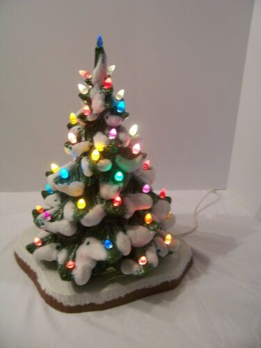 "Christmas Tree 17""  Ceramic Holland Mold Light-Up 43 Multi-Colored Light 1972"