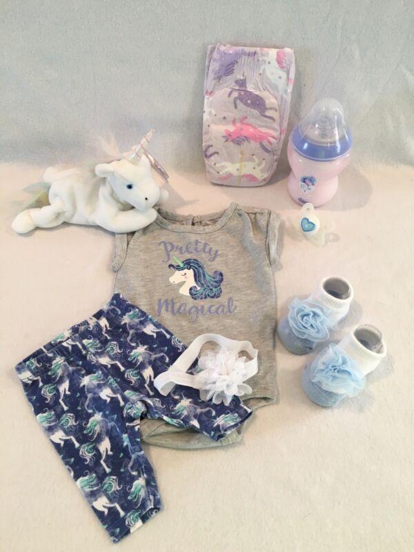reborn baby doll Unicorn 2piece Set W/ Bottle, Pacifier& Accs