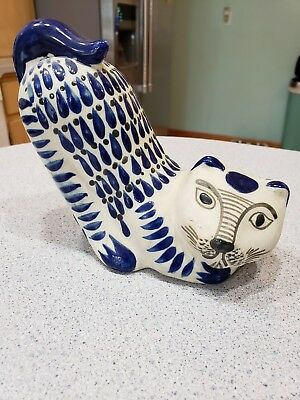 Tonola Mexican Cat Pottery Downward Dog Blue and unglazed -Marked CO ()