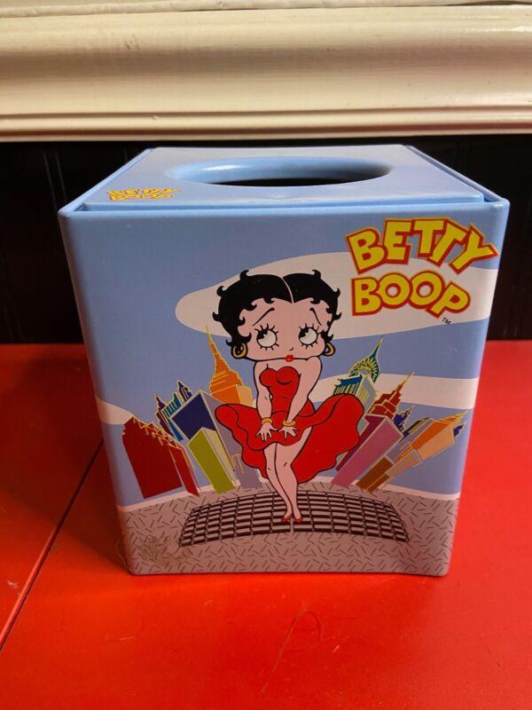Betty Boop City Skyline Blue Tin Tissue Kleenex Box Cover 2000 KFS Excellent