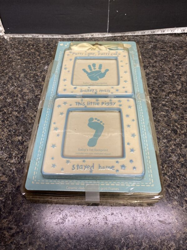 Sweet And Simple Baby's First Handprint And Footprint Ceramic Frames.
