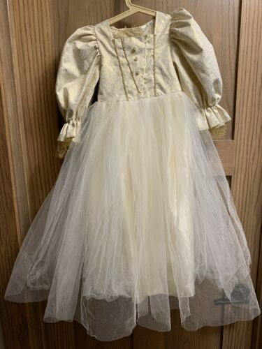 Pottery Barn Kids Queen Princess Gown + Crown  Costume Sz 3 Dress Up Pre-owned