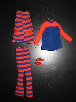 1960s Vintage Barbie Clothes Francie Doll Striped Types Red/Blue Outfit #1243