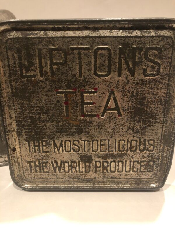 Antique Vintage Lipton's Tea Square Tin Planter Ceylon Tin Distressed Very Solid