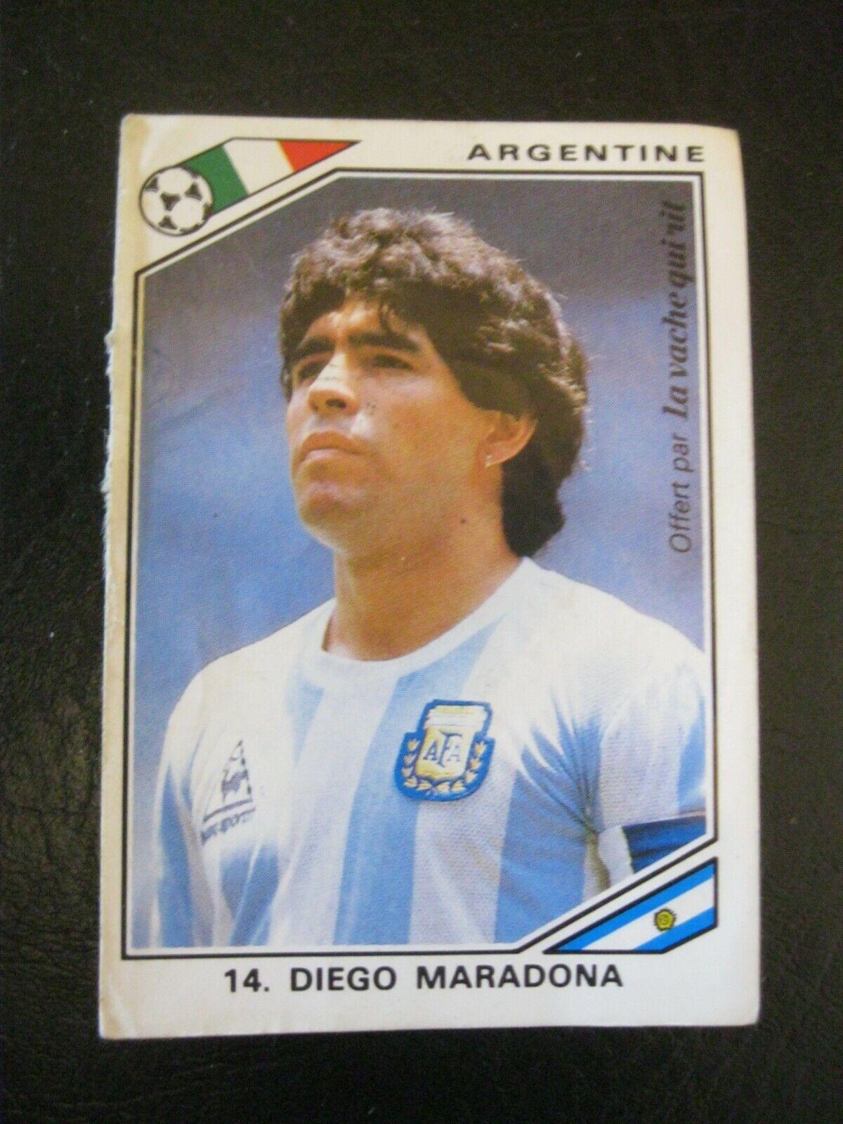 Vintage 90s vignette panini la vache qui rit diego maradona italia 1990 italie