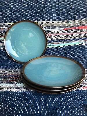 Excellent Condition Home Trends LAGOON Salad Plate Turquoise Blue Brown (Blue Rim Salad Plate)