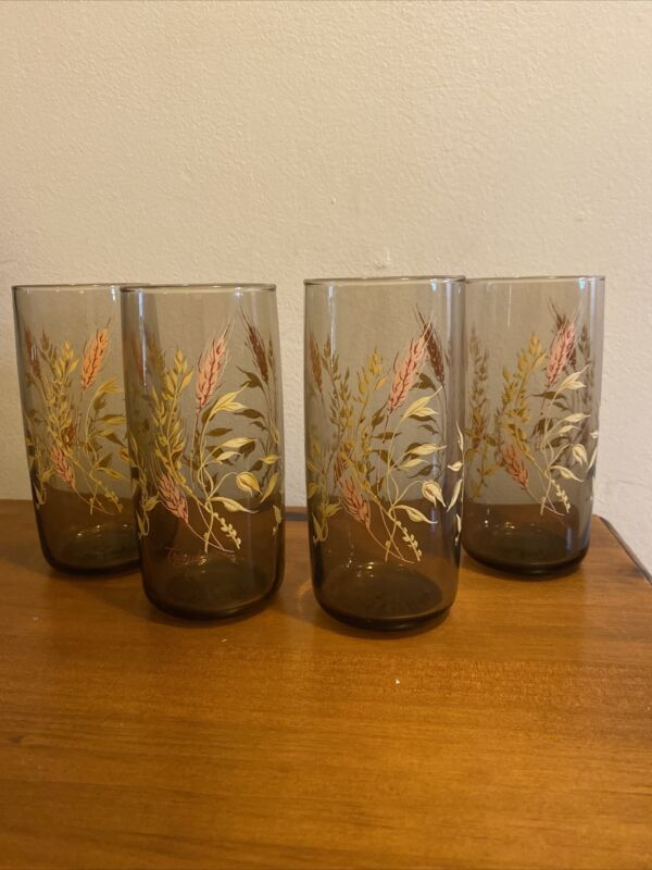 4 VINTAGE TRIGUBA Tumbler Drink Glasses Anchor Hocking GOLDEN WHEAT Cup