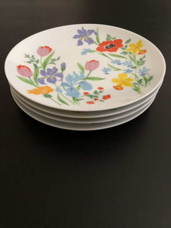 "Set Of 4 Dinner Plates - Heinrich H & C SELB Bavaria Germany Primavera - 10"""