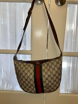 Authentic Gucci Ophidia Stripe Supreme GG Brown Canvas Leather Shoulder Hand Bag