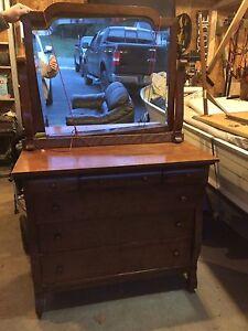 Wood Antique Dresser with Mirror