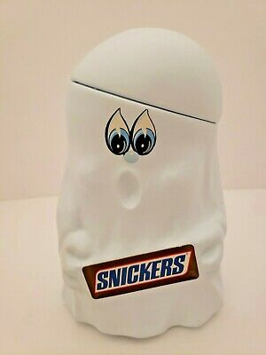 Vintage Mars Snickers Halloween Ghost Candy Pail Container Blow Mold