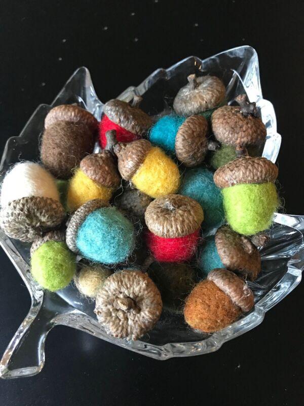 "26 Handmade Needle Felted Wool Acorn Fall ""Autumn Splendor"" Thanksgiving"