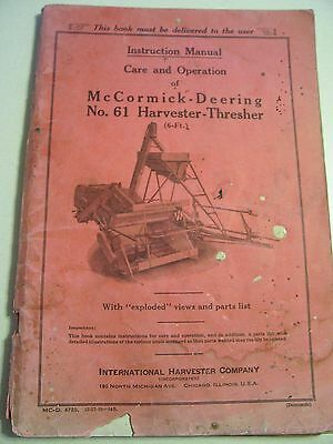 Vintage Ihc Mccormick Deering  Operators Manual     61 Harvester