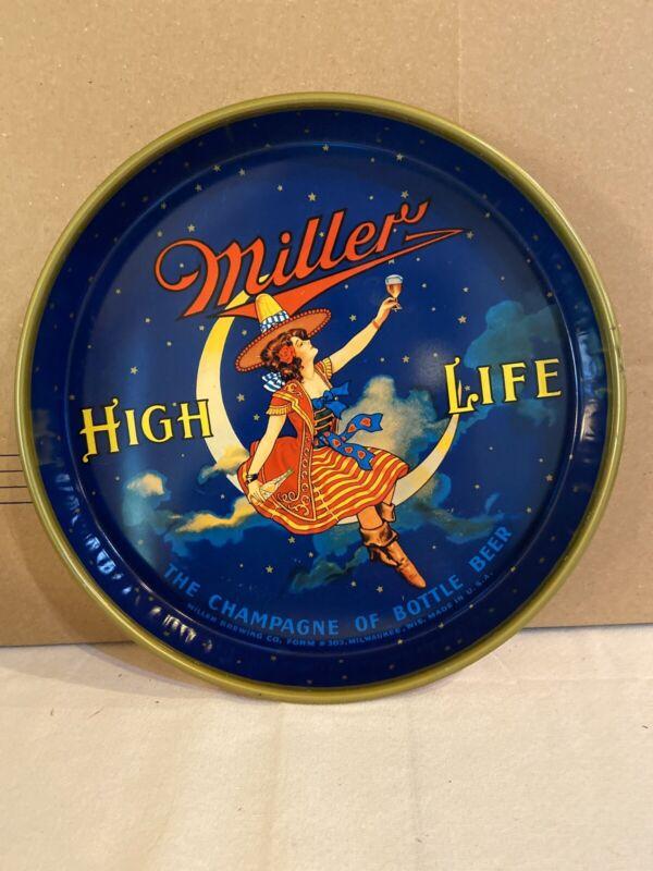 "vintage Miller High Life 13"" Metal Tray Girl On The Moon"