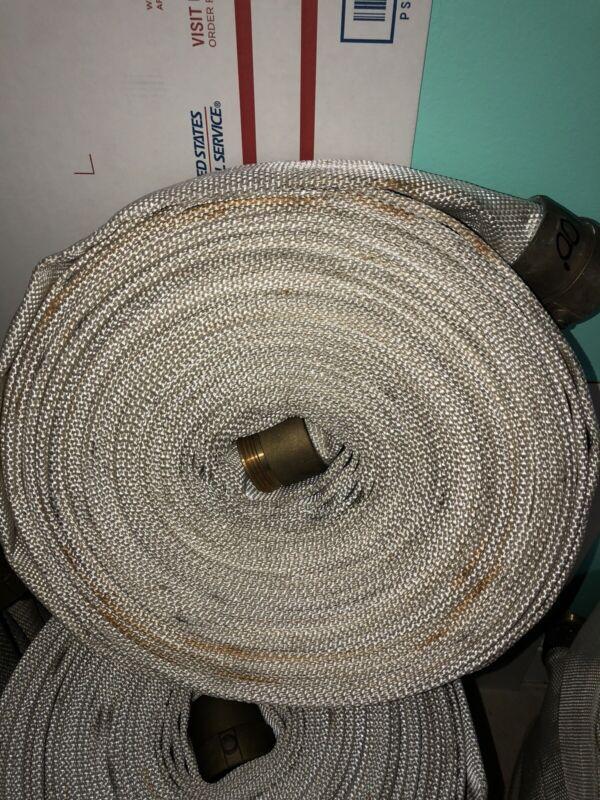 "Fire Hose 1 1/2"",,100 Ft Brass Couplings"