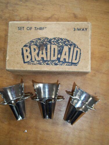 BRAID AID SET OF THREE .. IN ORIGINAL BOX +BONUS- FOR BRAIDED RUG MAKING