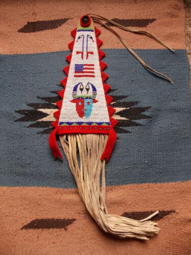 PICTORIAL SIOUX (Lakota) BEADED TOMAHAWK DROP - Beadwork/Quillwork, Reproduction