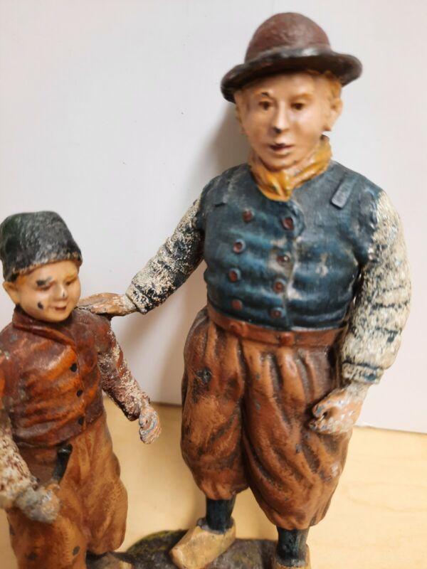 Vintage Antique Cast Iron Dutch Man & Boy Figurine, Doorstop?