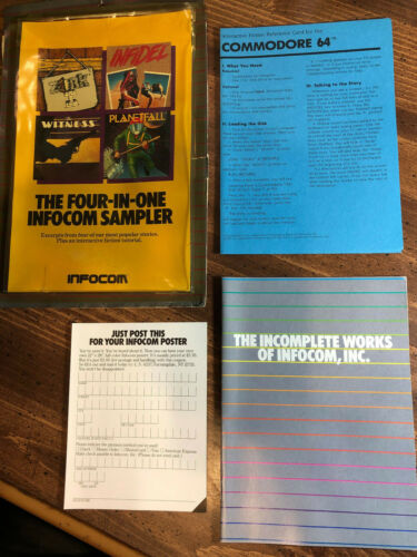 THE FOUR-IN-ONE INFOCOM SAMPLER  Commodore 64 Packaging ~ * NO GAME DISK *
