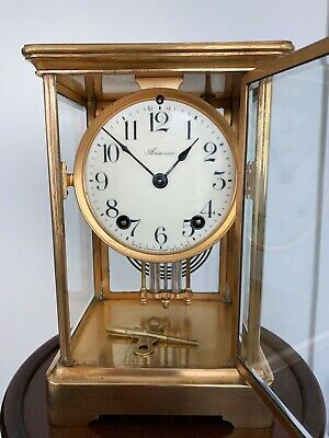 VINTAGE ANSONIA BRASS MANTLE CLOCK WITH WINDING KEY & PENDULUM