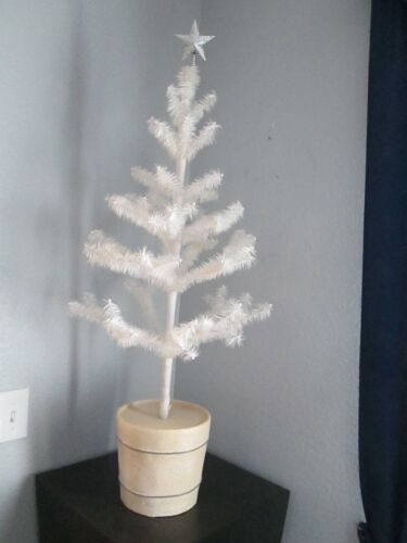 """Rare Amazing Vintage White Feather Christmas Tree 40"""" with Mica Base Tabletop"""