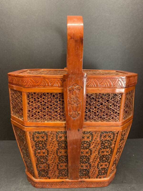 "19TH C. Chinese Handmade Wedding Basket Stacking Woven Bamboo Handle 15"" Tall"