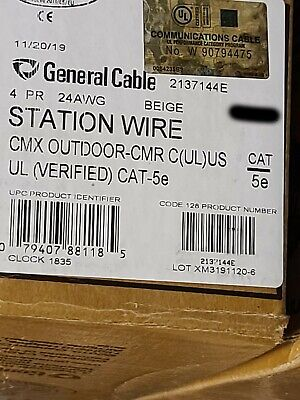 General Cable 2137144e Genspeed 5000 244p Utp Cat5e Network Cmxcmr Beige100ft