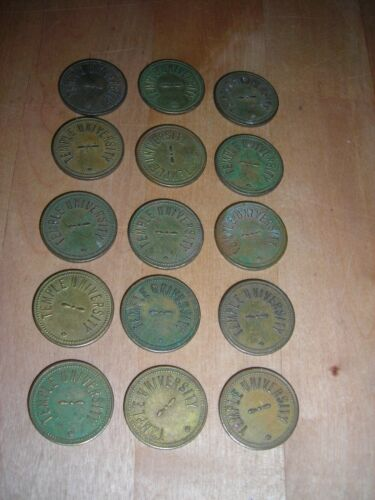 Old Brass Parking Tokens TEMPLE UNIVERSITY Parking Check Lot of 15