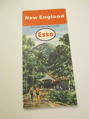 Vintage 1951 Esso New England Maine Travel State Oil Gas Station Road Map