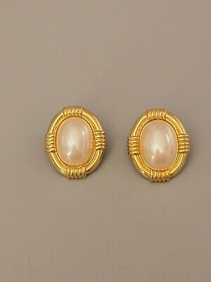 Signed GIVENCHY PARIS NEW YORK Vintage Earrings Faux Pearls Gold Tone