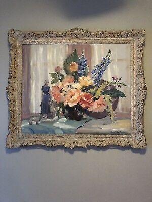 PEARL VAN SCIVER-PAFA/Phila Impressionist-Original Signed Oil-Floral Still Life