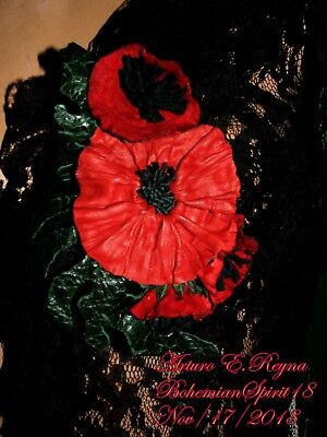 ARTURO E.REYNA RED POPPIES FLOWERS LEATHER HANDCRAFTED SIGNED BROOCH/PIN