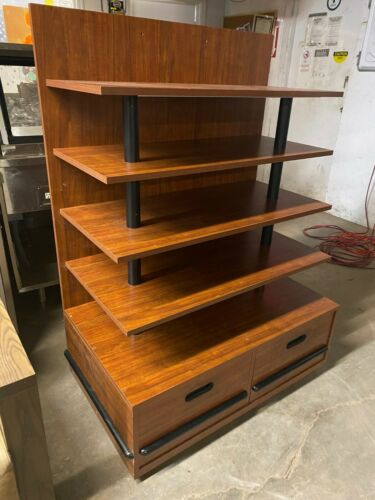 """UCD Wood 41.5"""" Brown Product Retail Store Display Candy Fixture Shelf w/Drawers"""