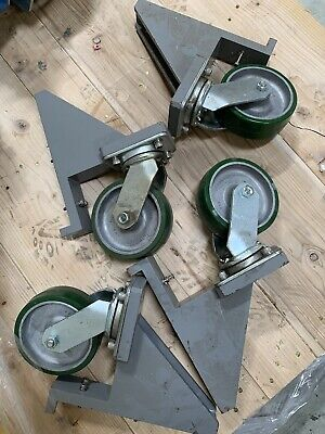 Albion At710002 Poly Wheel Rotatable Caster With Machine Rigging Frame Lot Of 4